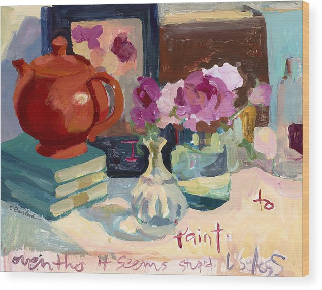 Teapot Wood Print featuring the painting Orange Teapot by Carolyn Elmsford