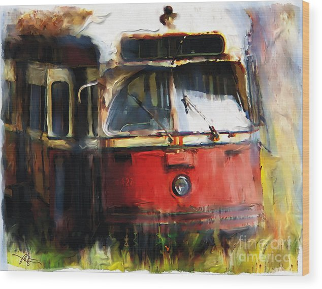 Vehicles Wood Print featuring the painting Rust In Peace by Bob Salo
