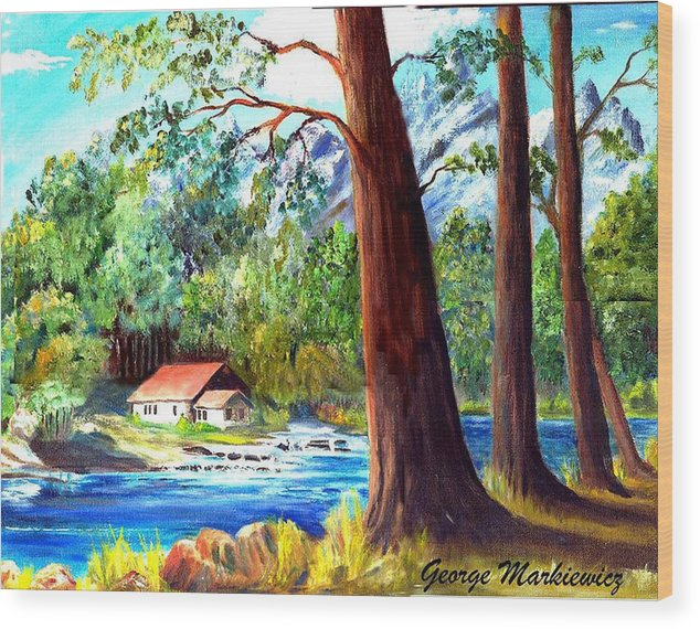 Lake Wood Print featuring the print A Quiet Place by George Markiewicz
