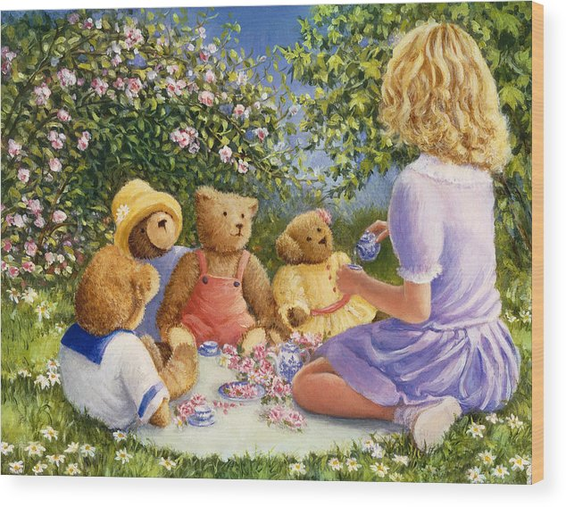 Teddy Bears Wood Print featuring the painting Afternoon Tea by Susan Rinehart