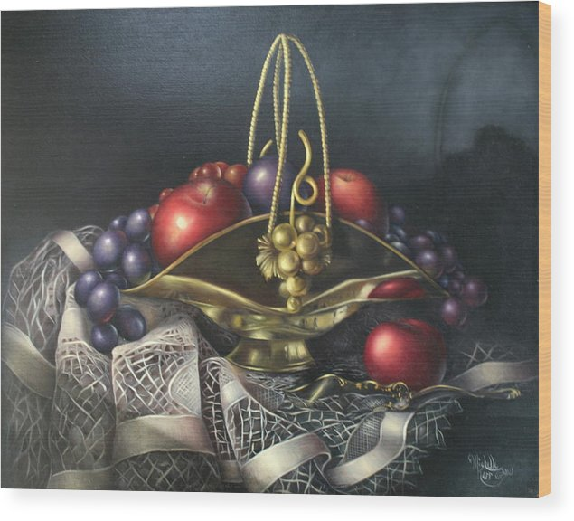 Still Life Wood Print featuring the painting Brass Basket by Michelle Kerr