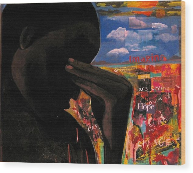 African American Wood Print featuring the painting Crying Man Change by Joyce Owens