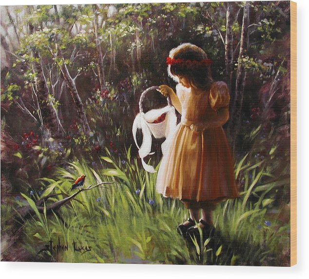 Wood Print featuring the painting Girl With Basket Of Roses by Stephen Lucas