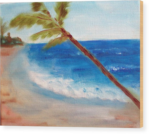 Ocean Wood Print featuring the painting On The Beach by Lia Marsman