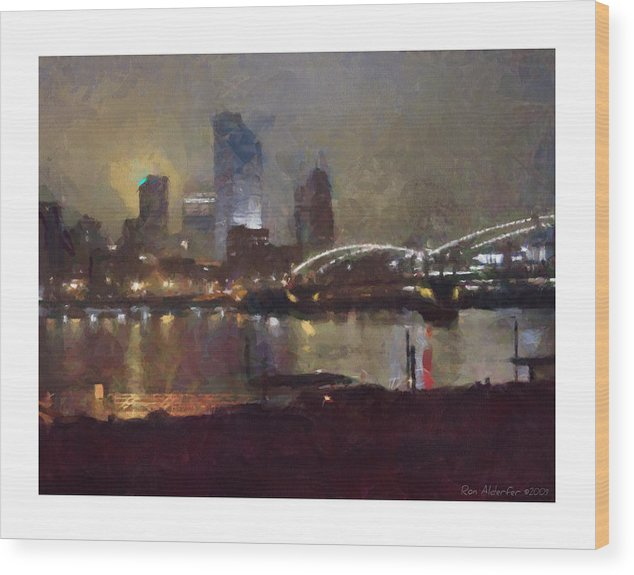 Digital Wood Print featuring the photograph Pittsburgh Night by Ron Alderfer
