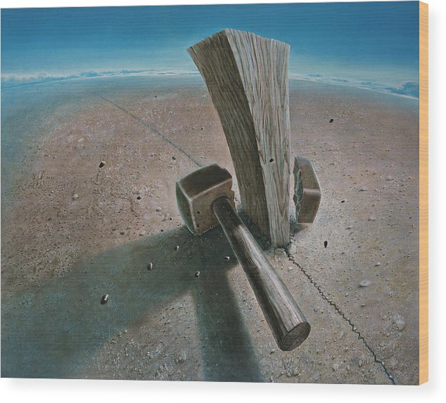 Concept Wood Print featuring the painting The Failure by De Es Schwertberger