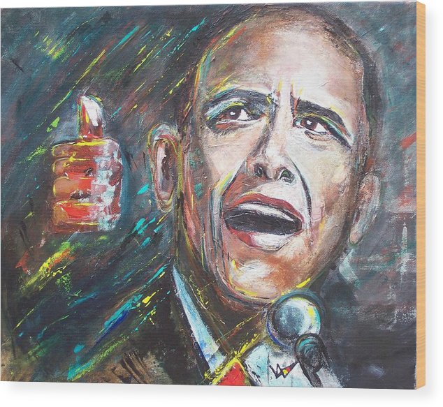 Barack Wood Print featuring the painting Barack Obama by Valerie Wolf
