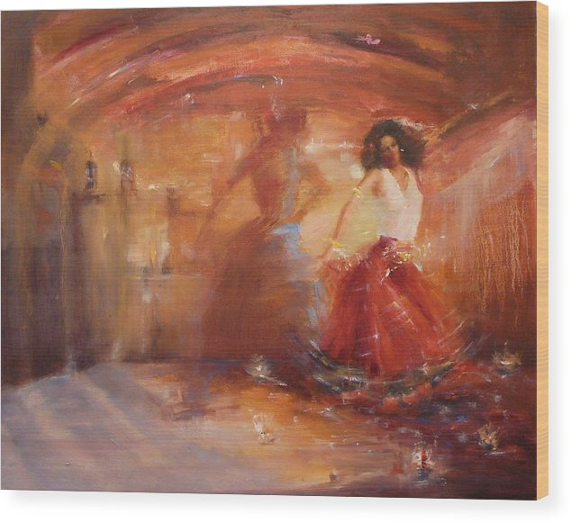 Dance Wood Print featuring the painting Sold Bohemian by Irena Jablonski