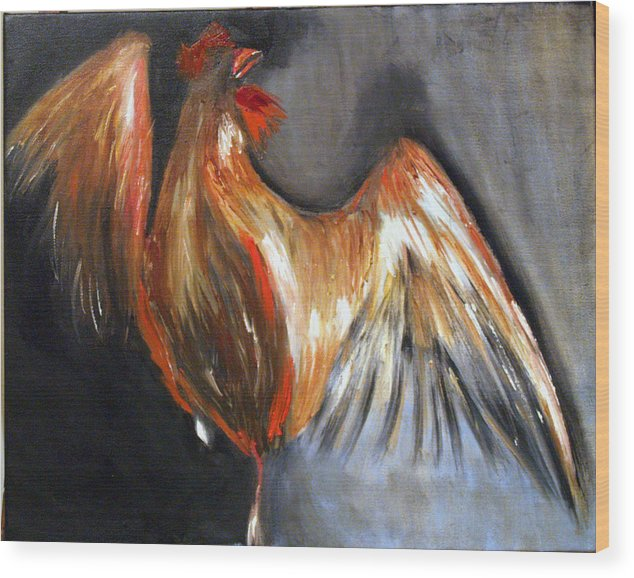 Rooster Chicken Red Wood Print featuring the painting El Gallo by Niki Sands