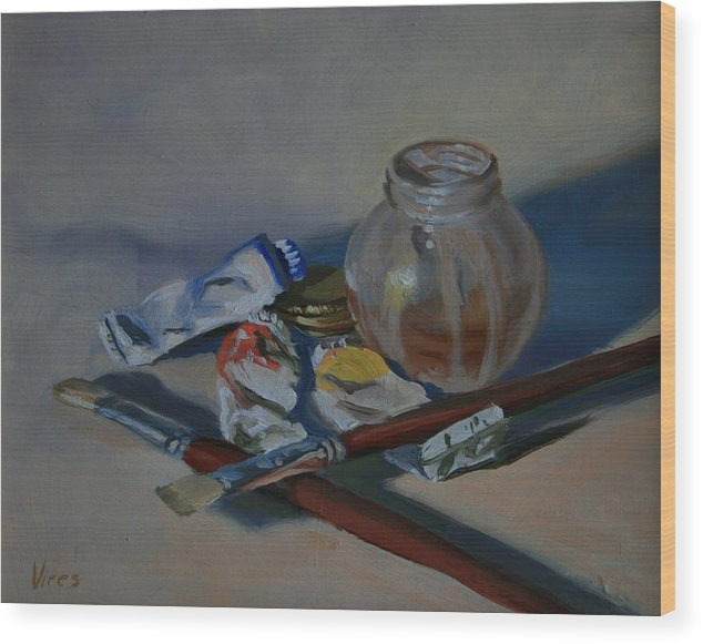 Still Life Wood Print featuring the painting Limited Palette by Michael Vires