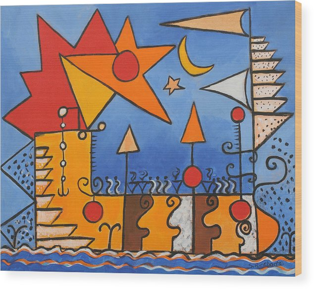 Abstract Wood Print featuring the painting Magic Boat by Susan Rinehart
