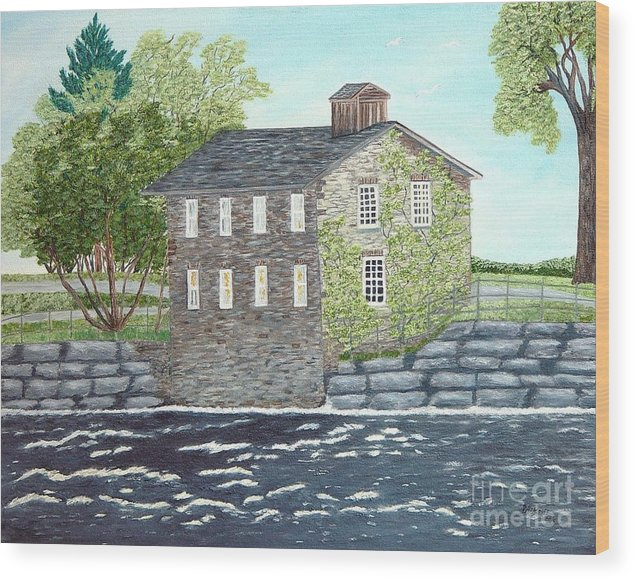 Historic Mills Painting Wood Print featuring the painting Meyers Mill by Peggy Holcroft
