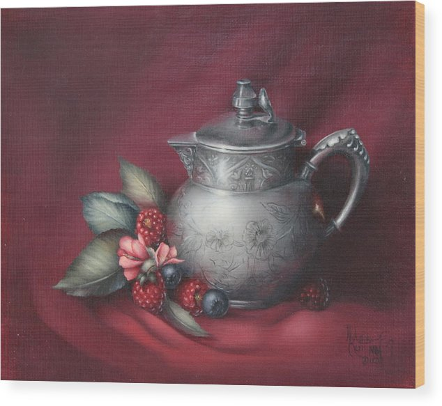Still Life Wood Print featuring the painting Raspberries by Michelle Kerr