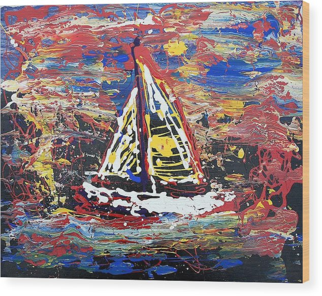 Sailboat Wood Print featuring the painting Sunset On The Lake by J R Seymour