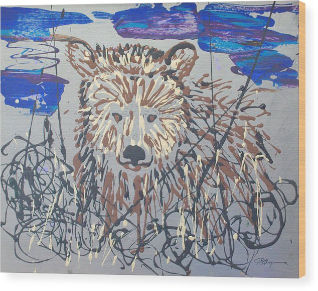 Bear In Bushes Wood Print featuring the painting The Kodiak by J R Seymour