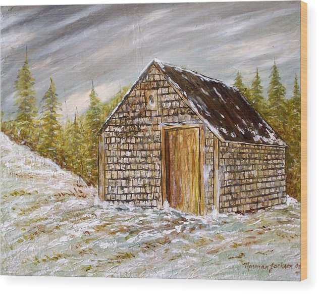Woodshed Wood Print featuring the painting Thewoodshed by Norman F Jackson