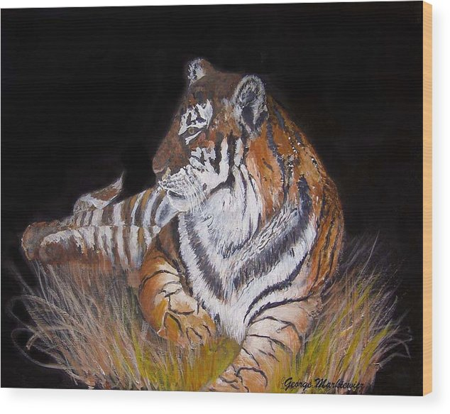 Tiger Wood Print featuring the print Tiger Tiger Burning Bright by George Markiewicz