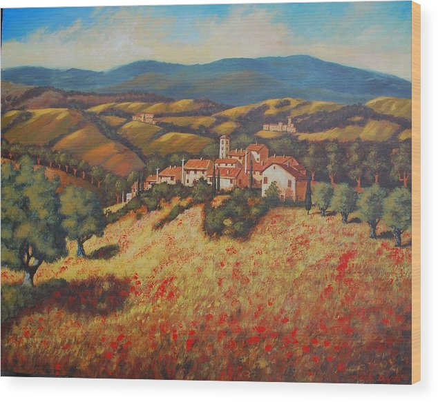 Impressionism Landscape Wood Print featuring the painting Tuscan Countryside by Santo De Vita