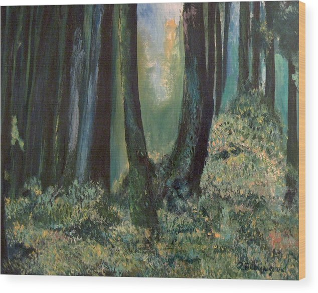 Olympic Rainforest Wood Print featuring the painting Olympic Rainforest II by Richard Beauregard