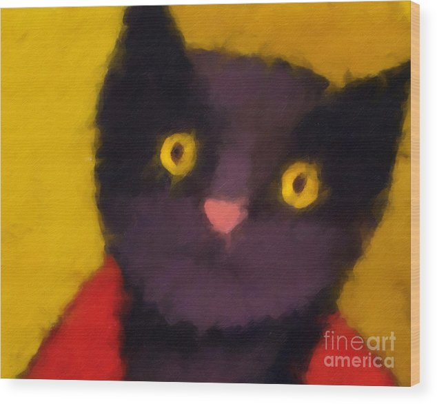 Cats Wood Print featuring the painting Blacky by Lutz Baar