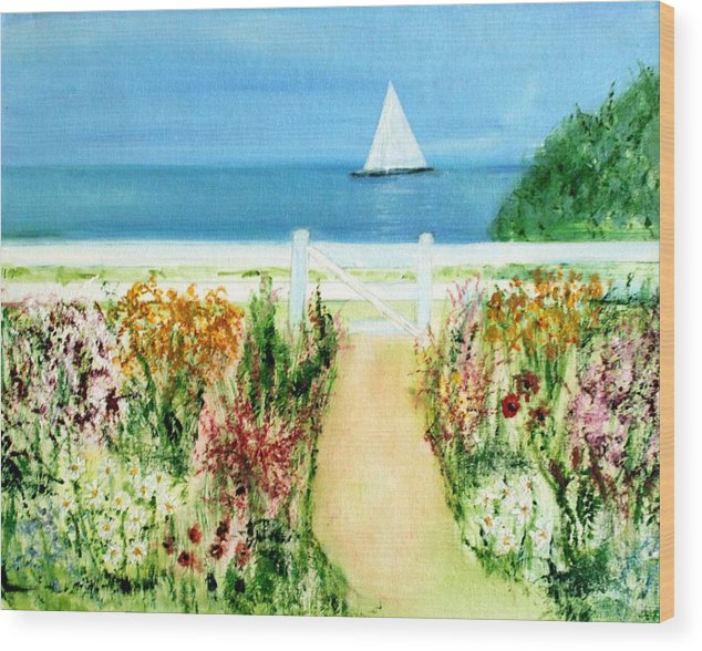 Landscape Wood Print featuring the painting Celia Thaxter by Michela Akers