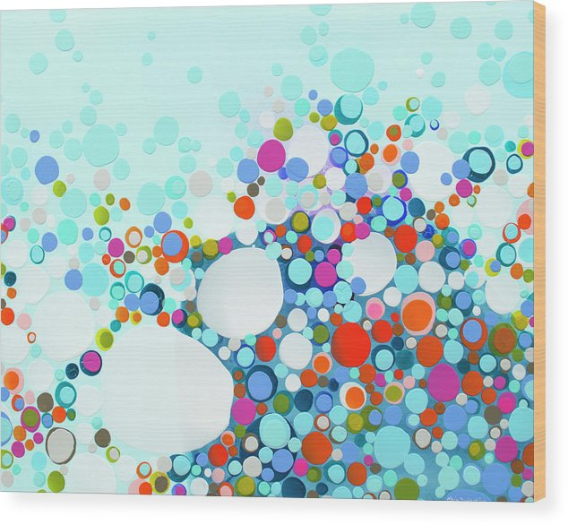 Abstract Wood Print featuring the painting Comfortable In Chaos by Claire Desjardins