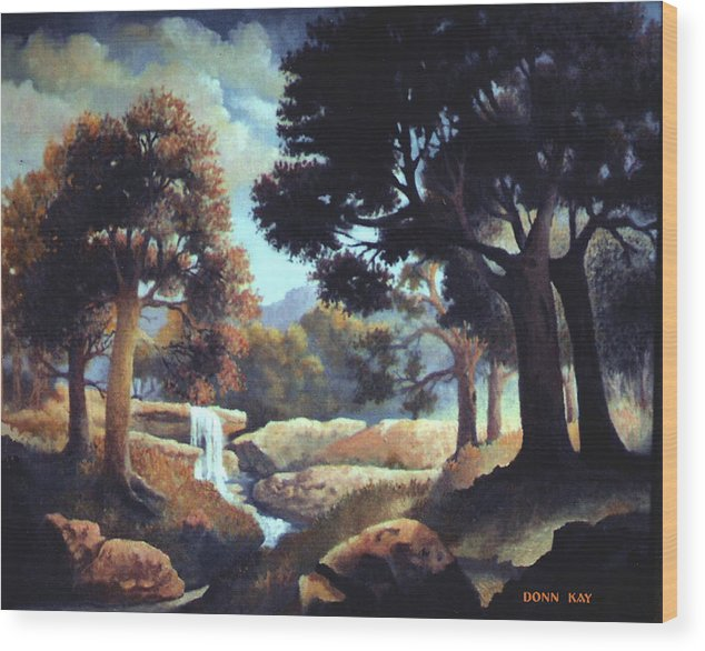 Waterfalls Mountains Southwest Texas Landscape Painting Wood Print featuring the painting Early Morning At Hidden Rock by Donn Kay