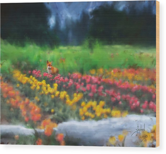 Fox Wood Print featuring the digital art Fox Watching The Tulips by Stephen Lucas