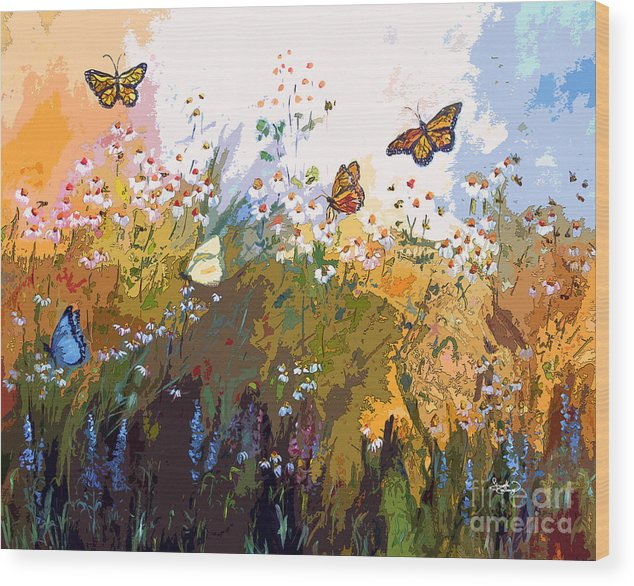 Butterflies Wood Print featuring the painting Modern Chamomille And Butterflies by Ginette Callaway