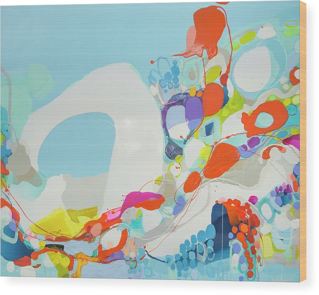 Abstract Wood Print featuring the painting When Alexa Moved In by Claire Desjardins