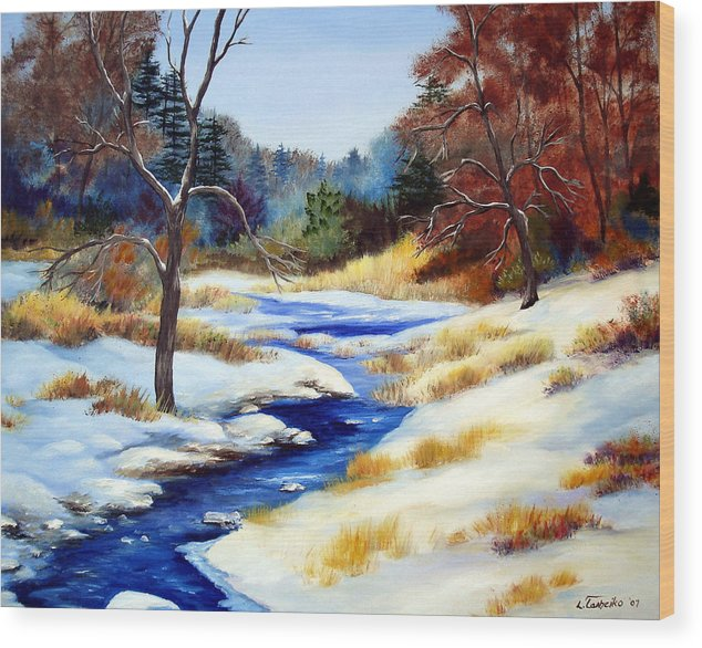 Maine Snow Winter Trees Nature Paintings Original Art Wood Print featuring the painting Winter Stream by Laura Tasheiko
