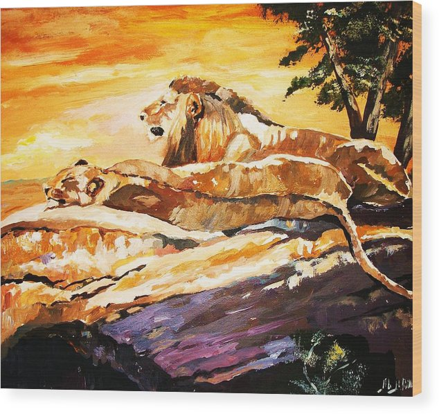 Animals Wood Print featuring the painting After The Hunt by Al Brown