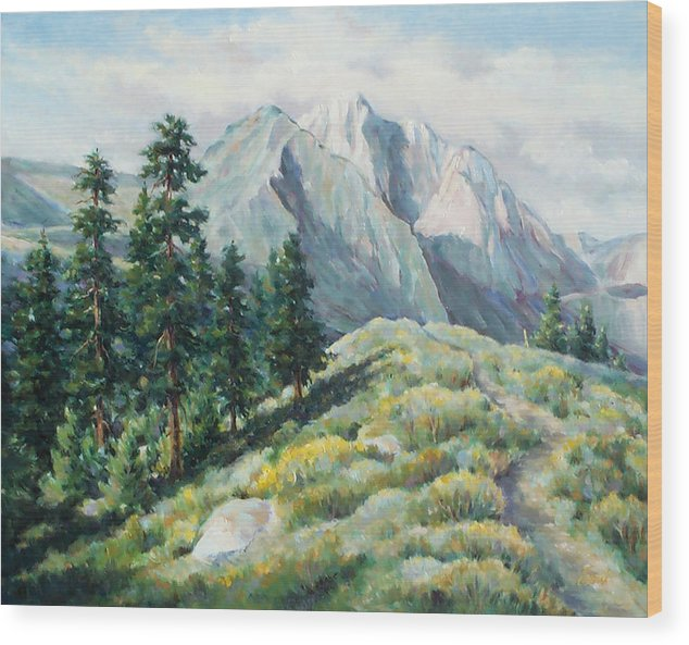 Landscape Wood Print featuring the painting Convict Lake Guardians by Don Trout