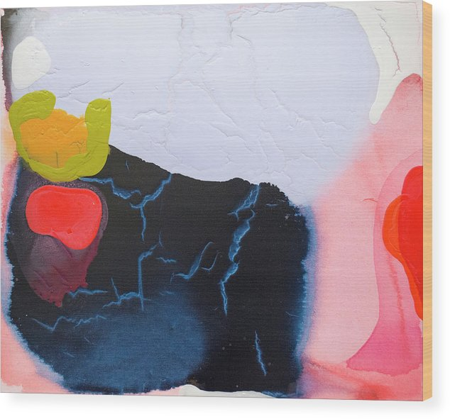 Abstract Wood Print featuring the painting Maya 01 by Claire Desjardins