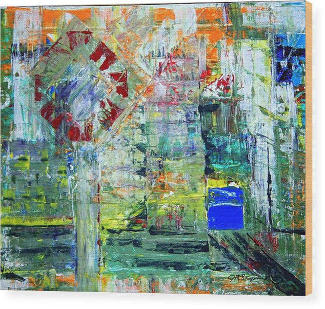 Abstract Wood Print featuring the painting Milton Place by J R Seymour