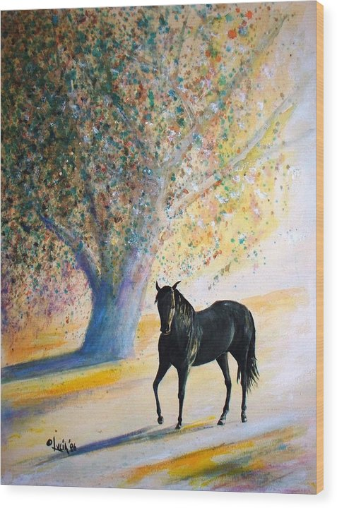 Watercolor. Horses. Wood Print featuring the print Champ by Carl Lucia