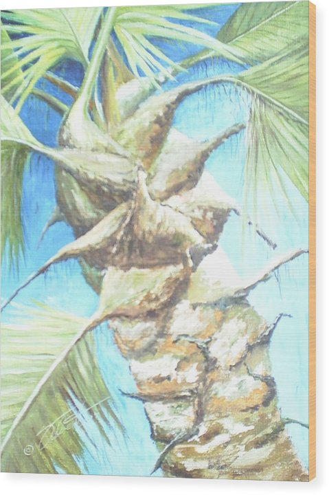 Palm Wood Print featuring the painting Into The Palm by Dennis Vebert