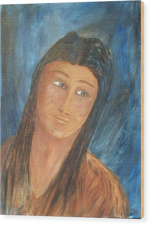 Portrait Wood Print featuring the painting Sacagawea by Larry Verch