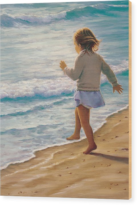 Beach Wood Print featuring the painting Sand Dancer by Susan Rinehart
