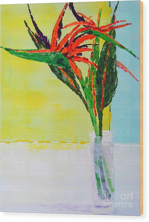 Flowers Wood Print featuring the painting Flower Power by Art Mantia
