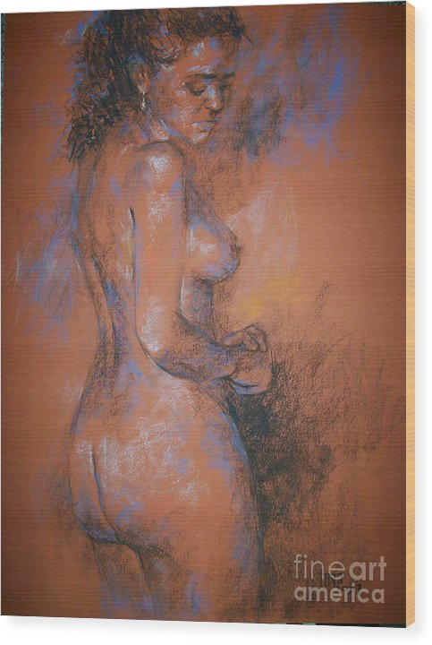 Figurative Wood Print featuring the painting Orange Nude by Tina Siddiqui