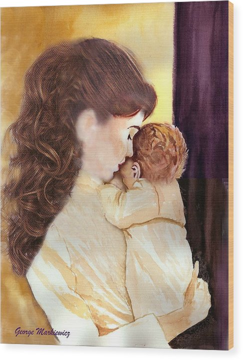 Mother And Baby Wood Print featuring the print Tenderness by George Markiewicz