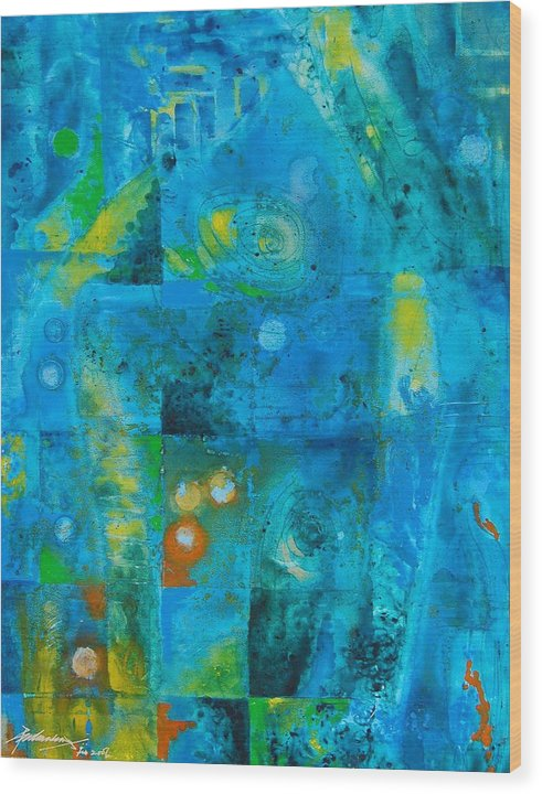 Abstract Wood Print featuring the painting Untitled by Padmakar Kappagantula