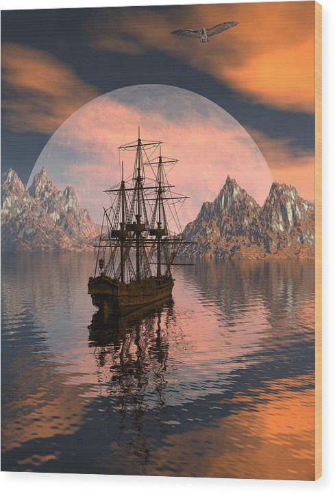Bryce 3d Digital Fantasy Scifi Windjammer Sailing Wood Print featuring the digital art At Anchor by Claude McCoy