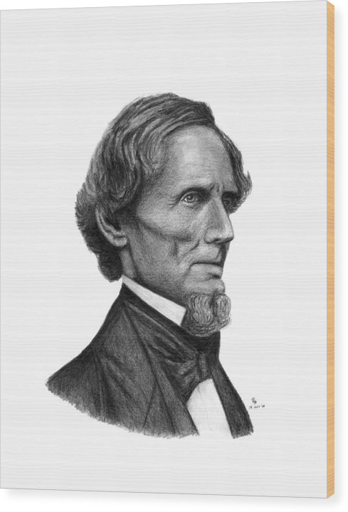Confederate Wood Print featuring the drawing Confederate President Jefferson Davis by Charles Vogan