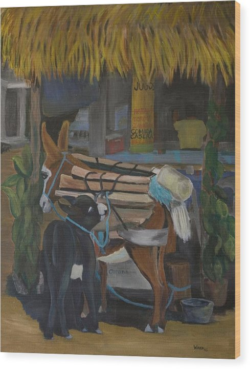 Animal Wood Print featuring the painting Donkey At Taco Stand by Anita Wann