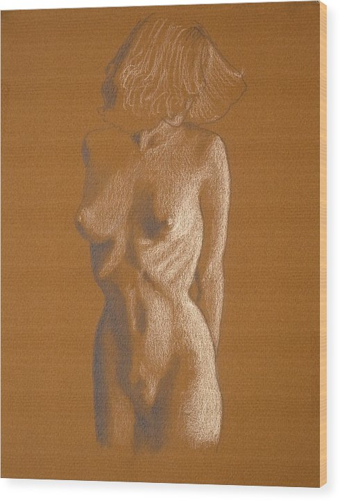 Female Wood Print featuring the drawing Female Nude Six by George Wade