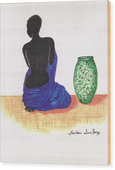 Wood Print featuring the drawing Woman And A Ginger Jar by Bee Jay