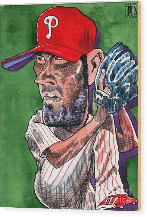 Phillies Wood Print featuring the painting World Series Mvp by Robert Myers