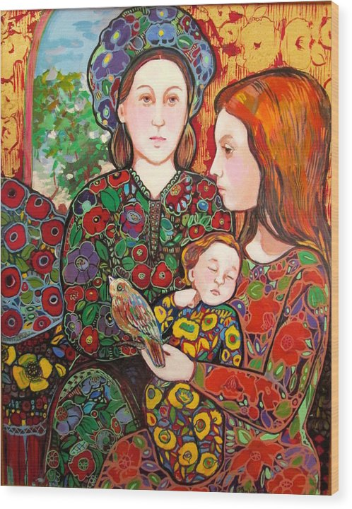 Nativity Wood Print featuring the painting Madeline and the Baby by Marilene Sawaf